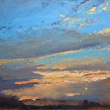 """Wissler """"Setting from the Middle"""" oil on panel 12 x 13 inches"""