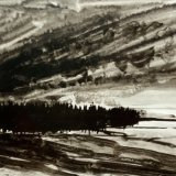 John David Wissler Rain Moving ink on paper 7 x 11 inches