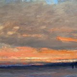 John David Wissler Snow Fields At Dusk oil on panel 15.25 x 26.25 inches