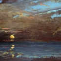 """SOLD Wissler """"Breaking"""" oil on panel 8.25 x 15.5 inches"""