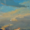 """Wissler """"Breaking Moon, Setting Sun"""" oil on panel 11 x 12 inches"""