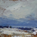 """SOLD Wissler """"Virginia Covered"""" oil on panel 12.5 x 13 inches"""