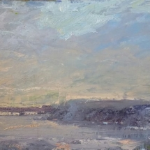 Winter River  oil on panel 12 x 24 inches
