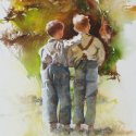 Buddies watercolor 21.750 x 14.5 inches