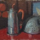 ALEX COHEN Oranges Moka Colander Eakins oil on canvas mounted on board 6 x 10.5 inches $750