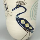 MARIKO SWISHER Galloping Horse Insect back white earth teacup yunomi 3.5 x 2.625 inches $190