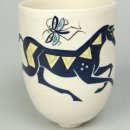 MARIKO SWISHER Galloping Horse Insect front white earth teacup yunomi 3.5 x 2.625 inches $190