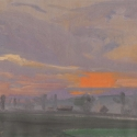 Millbach Sunrise May 19 2014, 2014, oil on paper