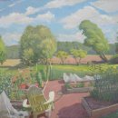 Alex-Cohen-Garden-with-Red-Tipple-oil-on-board-25-x-27.5-inches