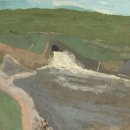 Brian-Rego-Fisherman-and-Spillway-oil-on-board-12.5-x-16-inches