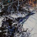 Robert Bitts Winter Along New Haven Run acrylic on canvas 63 x 36 inches 5500