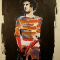 Mime in Striped Shirt mixed media 18 x 14 inches