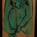 Kneeling Figure acrylic on panel 14 x 11 inches