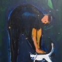 Cat Man of Los Gatos acrylic 14x11 inches