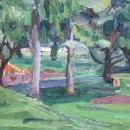 Ruth Bernard  Lebanon Park  oil on panel 13 x 21 inches