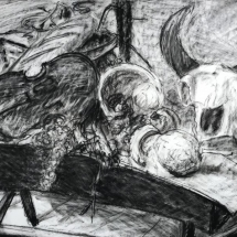 Ruth Bernard  Still Life with Skull  charcoal drawing 31 x 38.75 inches