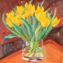 Yellow Tulips  Oil on Panel  16 x 16 inches