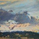 John David Wissler Bibbiano near Dusk oil on paper 8.75 x 10 inches