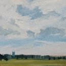 John David Wissler Dedham Church Tower oil on paper 6 x 8.25 inches