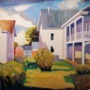Lou Schellenberg Summer Porch oil on canvas 48 x 20.75 inches