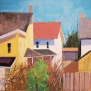 Lou Schellenberg Yellow House behind Factory oil on linen on panel 12 x 12 inches