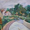 Ruth Bernard Caution Bridge oil on panel 19.75 x 23.75 inches
