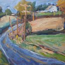 Ruth Bernard Central Manor Road oil on panel 14 x 16 inches