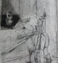 Dee Jenkins  Cello and Plaster Cast charcoal pencil and conte on paper 11.25  x 8.25 inches