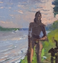 Aaron Lubrick Dan Walking Along The Ohio oil on panel  10.375 x 11.375 inches