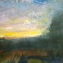 KOCHER Into Dusk Oil on Board 6 x 12 inches