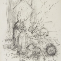 John Edward Heliker, Kitchen Still Life with a Salad charcoal on paper, 23 x 18.25 inches