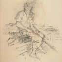 John Edward Heliker, Seated Figure charcoal on paper, 23 x 18.25 inches