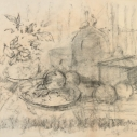 John Edward Heliker, Still Life with Fruit & Jug charcoal on paper, 16.5 x 23 inches