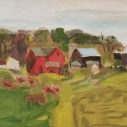 Farm Scene oil on canvas  16 x 20 inches