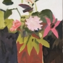 Flowers on Black Oil on Canvas  18 x 14 inches